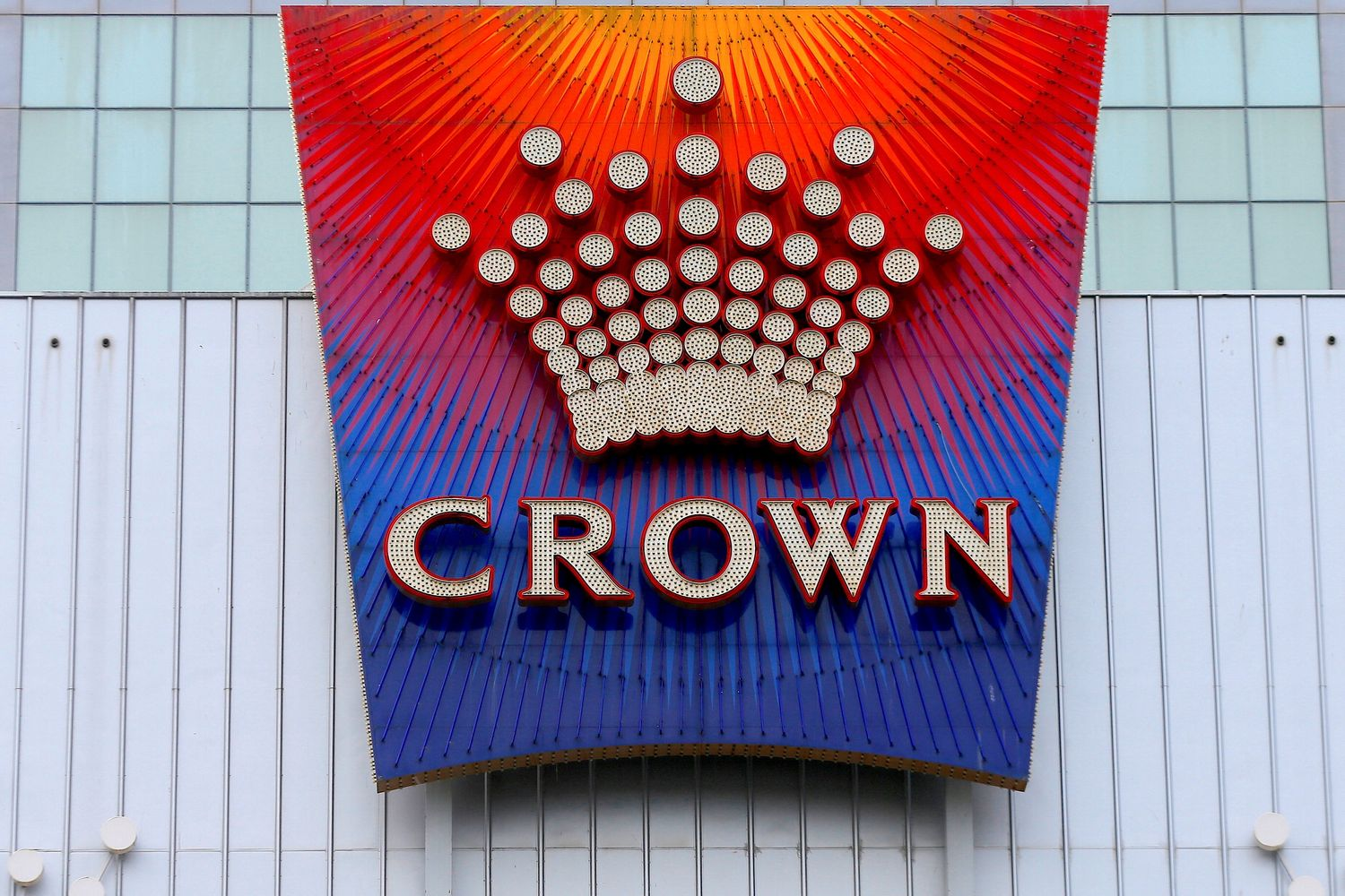 The logo of Australian casino giant Crown Resorts Ltd adorns the hotel and casino complex in Melbourne in 2017. (Reuters photo)