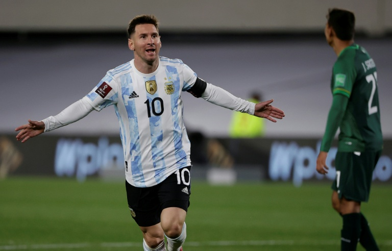 Argentina's Lionel Messi celebrates after scoring against Bolivia in a World Cup qualifier on Thursday.