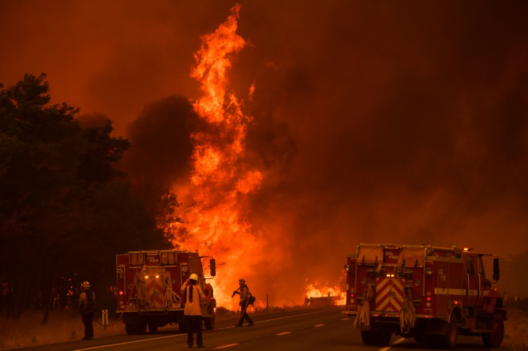Thousands of firefighters are battling blazes throughout California as voters go to the polls to decide on whether or not to recall Governor Gavin Newsom