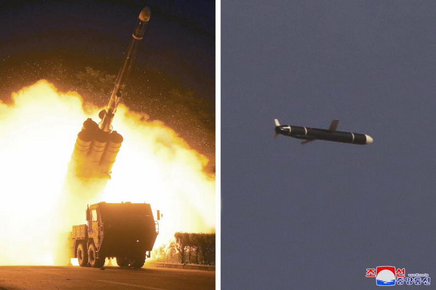Undated photos supplied by North Korea's Korean Central News Agency (KCNA) on Sept 13 purport to show a long-range cruise missile test. (Photo: KCNA via Reuters)