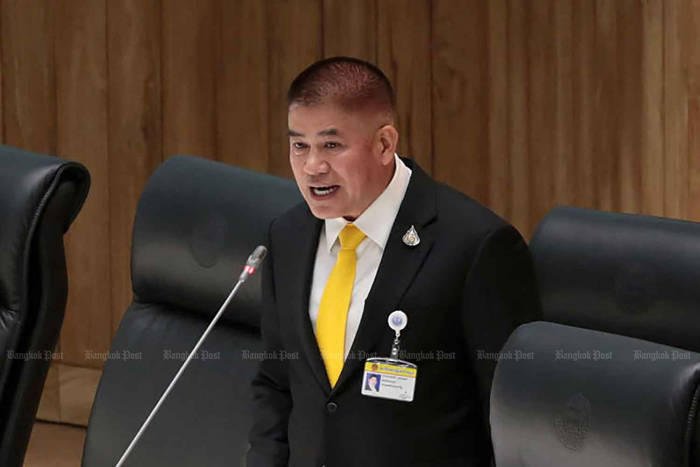 Thamanat Prompow remains as the secretary-general of the ruling Palang Pracharath Party. (Photo: Chanat Katanyu)