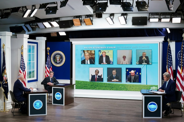 US President Joe Biden holds a virtual meeting with leaders on climate change