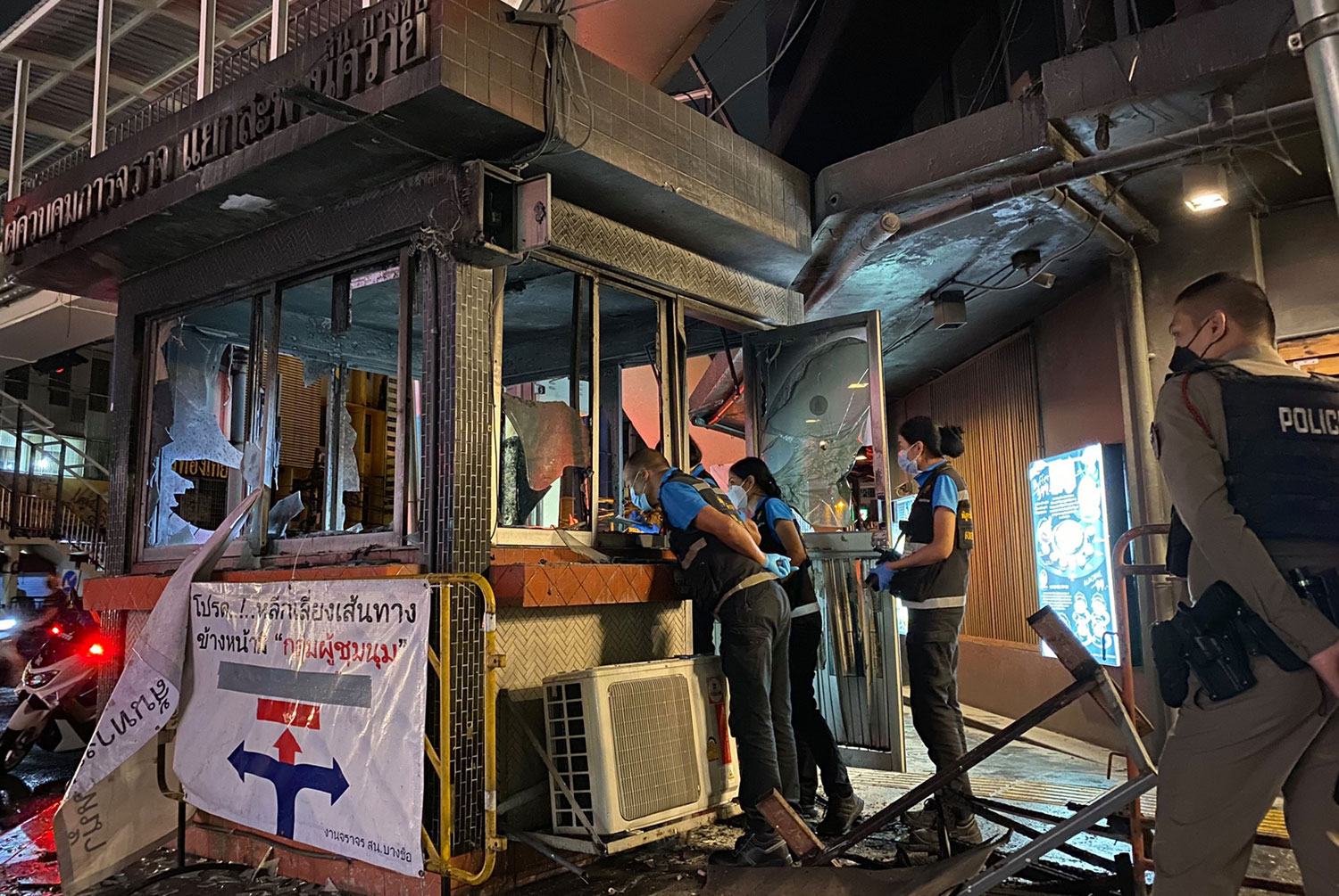 Four police booths torched, another damaged