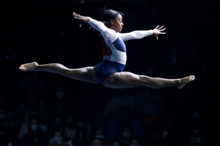Four-time Olympic gold medallist Simone Biles performs during the Gold Over America Tour at Staples Center in California