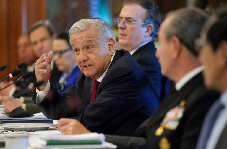 Mexican President Andres Manuel Lopez Obrador talks with a US delegation including Secretary of State Antony Blinken at a working breakfast in Mexico City