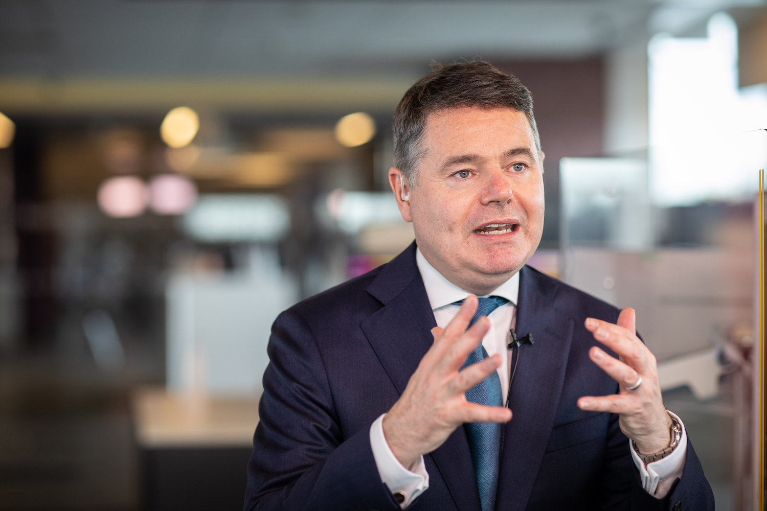 Paschal Donohoe, Ireland's finance minister, discusses the global corporate tax deal during an interview with Bloomberg Television in Dublin on Friday. (Bloomberg Photo)