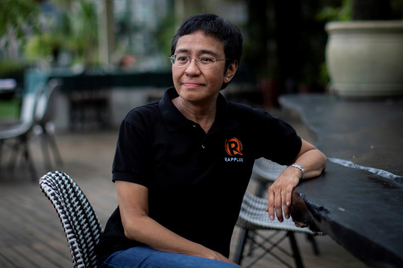 Filipino journalist and Rappler CEO Maria Ressa, one of 2021 Nobel Peace Prize winners, speaks during an interview in Taguig City, Metro Manila, on Saturday. (Reuters photo)