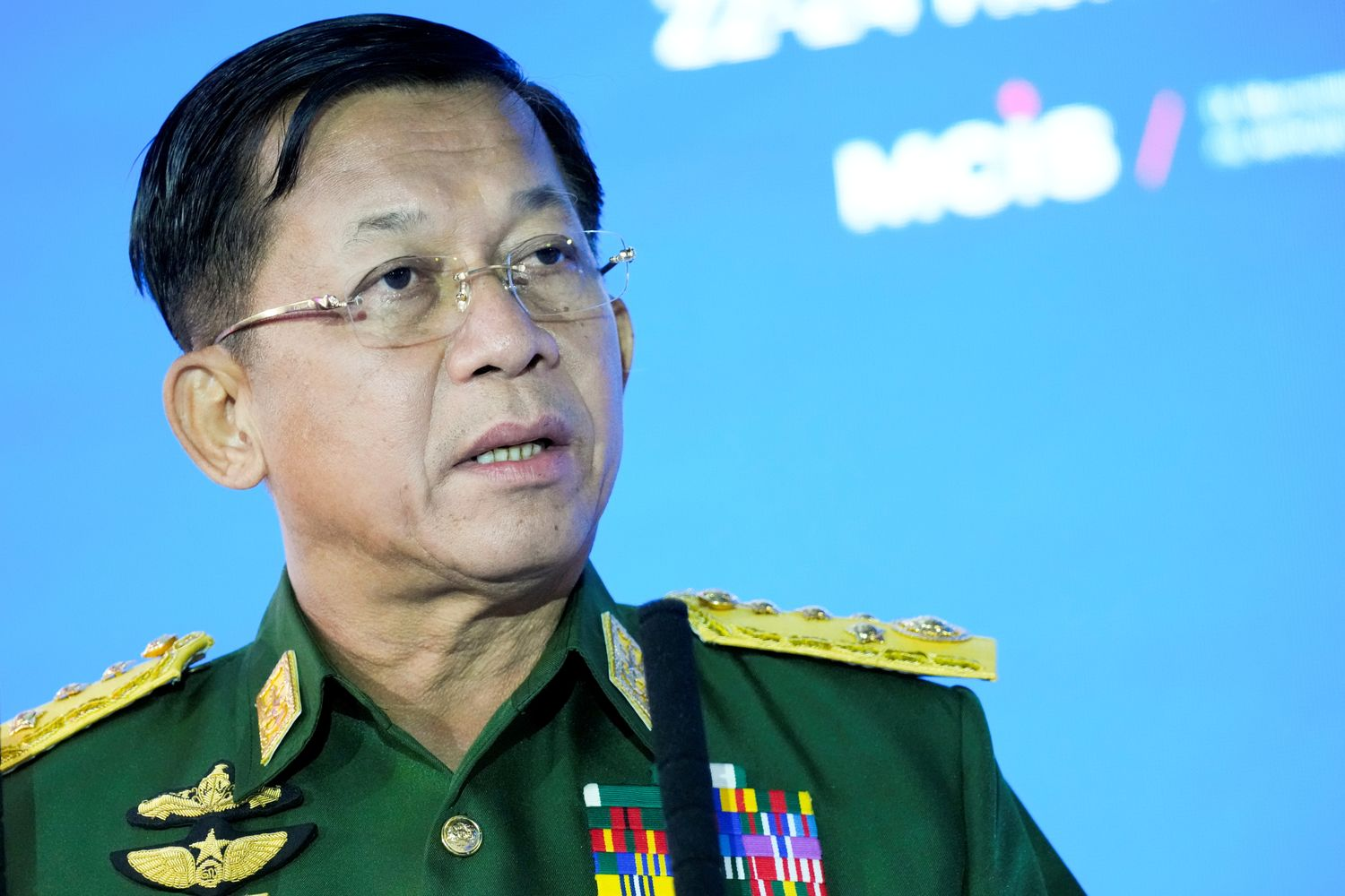 Senior General Min Aung Hlaing, commander-in-chief of Myanmar's armed forces, delivers his speech at the IX Moscow conference on international security in Moscow on June 23 this year. (Reuters photo)