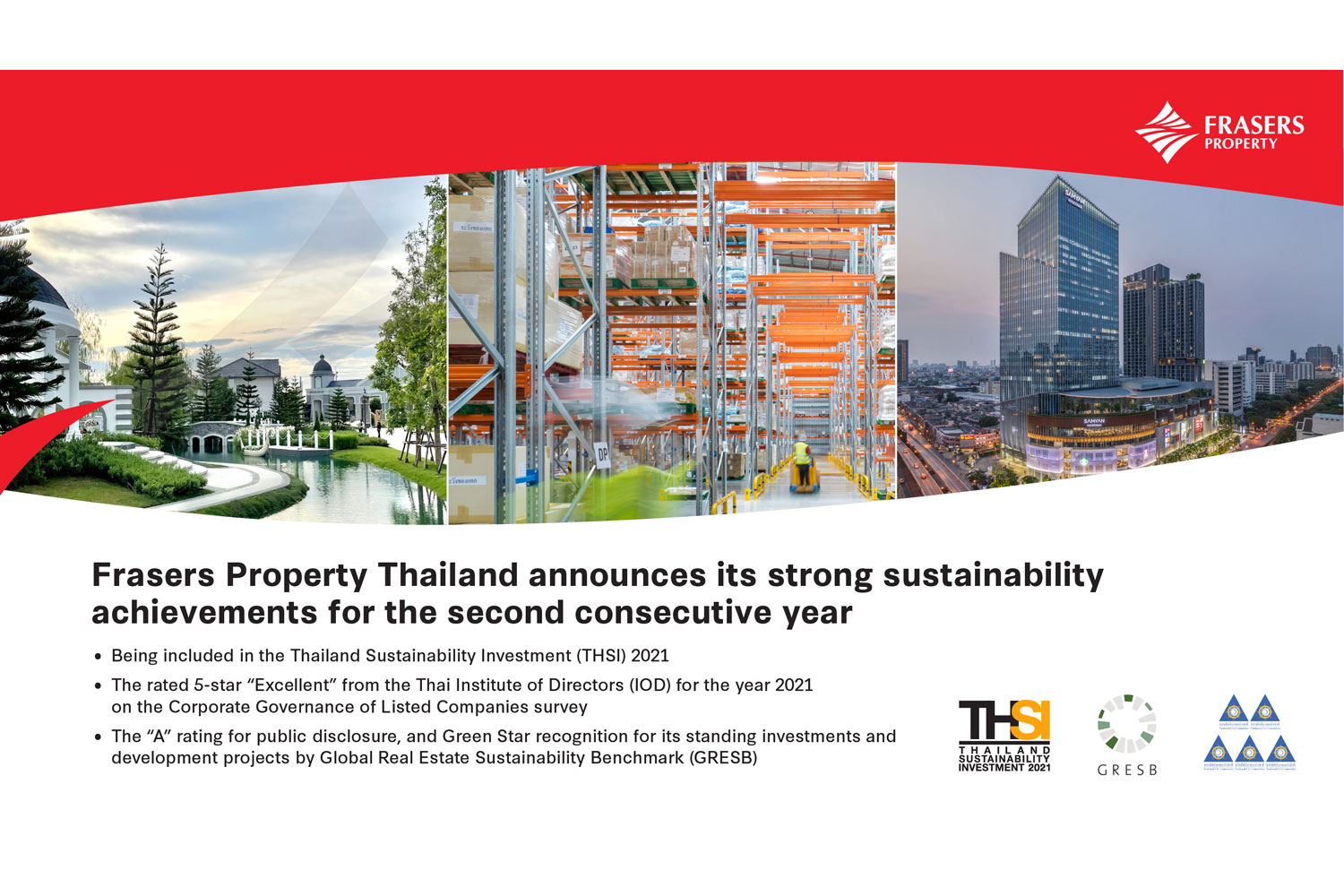 Frasers Property Thailand recognised for its strong sustainability