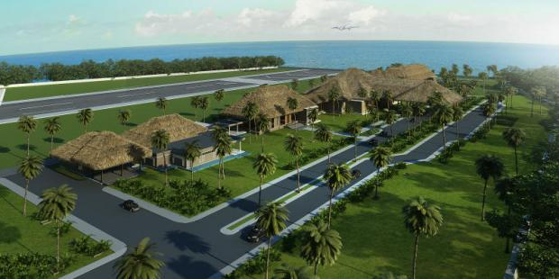A rendering of the proposed airport on Phangan island, home of the full-moon party. Numerous issues have delayed the airport's opening.