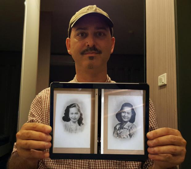 THE BIG PICTURE: Karin 'Bam' Stowe holds up a photo of his mother, Mary 'Anong' Stowe, right, and her twin sister. He is on a quest to connect with his mother's Thai family, who he has never known. (Photos courtesy of Karin Stowe)