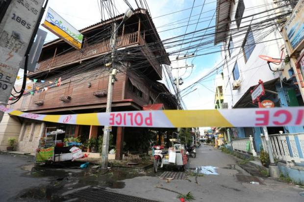 An Aug 12 photo shows the damage caused by explosions in the centre of Hua Hin, part of coordinated attacks believed to have been carried out by southern insurgents.  Pattanapong Hirunard