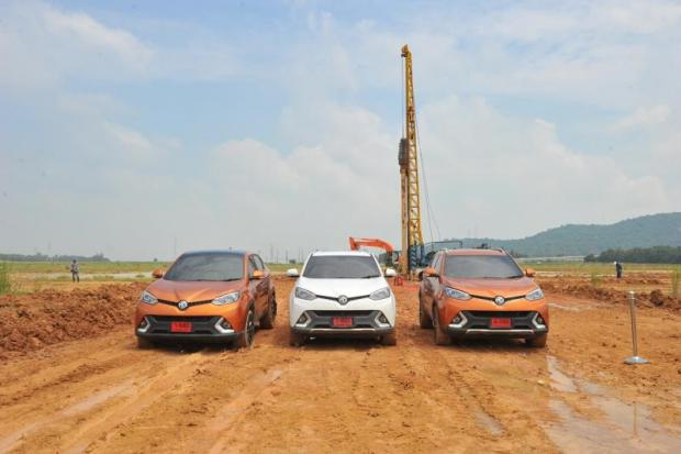 MG cars park at the construction site for SAIC Motor-CP's second assembly plant in Chon Buri province. The company says the new facility will use the most advanced technology.