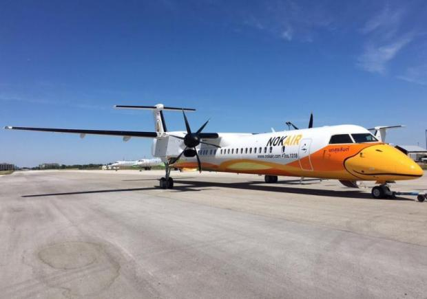 Nok Air's Bombardier Q400 turboprop aircraft. The Thai budget airline hopes to announce the inauguration dates of two new Chinese routes in February.