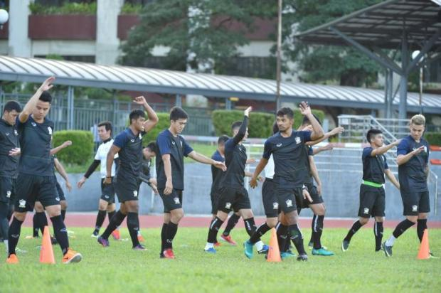 Thailand players take part in a training session in Manila. PR