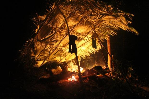 Open house: A temporary shelter set up by the Maniq near Phu Pha Petch cave in Satun province, left. The Maniq are a traditionally nomadic tribe who depend on the forest for their livelihoods. (Photo by Chumpol Pothisarn)