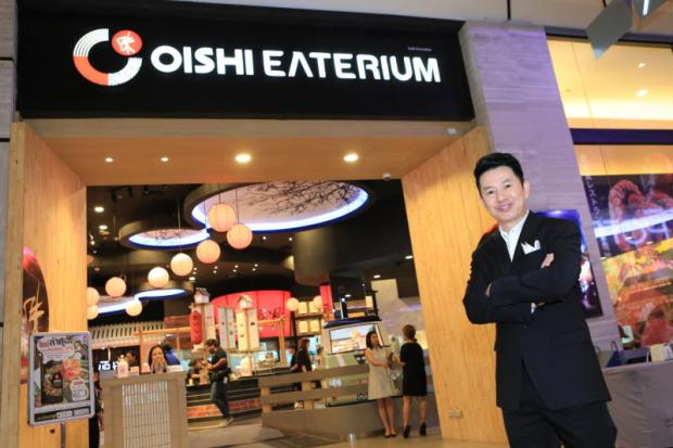 Paisarn Aowsathaporn, Oishi's executive vice-president for food, introduces the Oishi Eaterium at CentralPlaza Grand Rama IX.