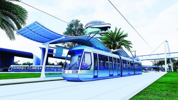 This picture shows a model of the light rail system planned to be built in Khon Kaen province.