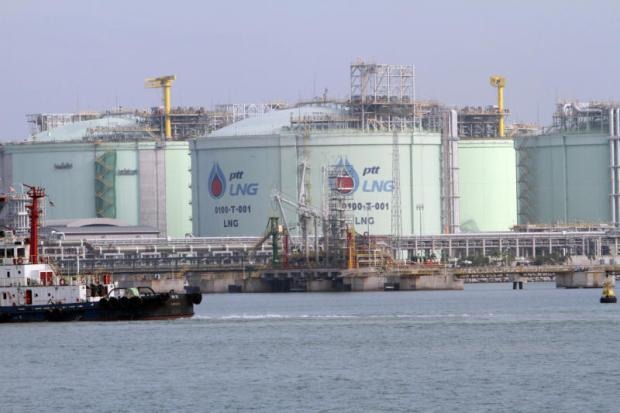PTT's liquefied natural gas terminal at Map Ta Phut industrial estate in Rayong province. The state energy firm plans to increase trade and invest more in its LNG business.APICHART JINAKUL