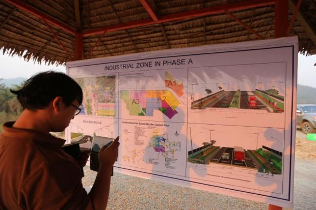 A layout of the Dawei development project displayed at a construction site in Myanmar's Dawei city. The Myanmar government has agreed on a lending plan for the special economic zone.PATTANAPONG HIRUNARD