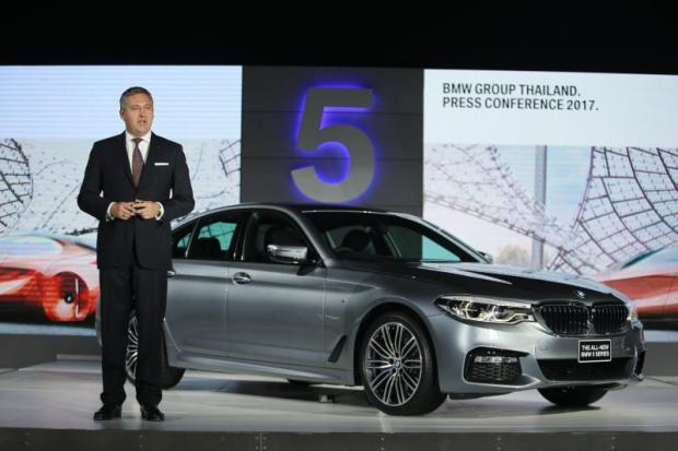BMW Group Thailand president Stefan Teuchert presents the all-new BMW 5 Series sedan.