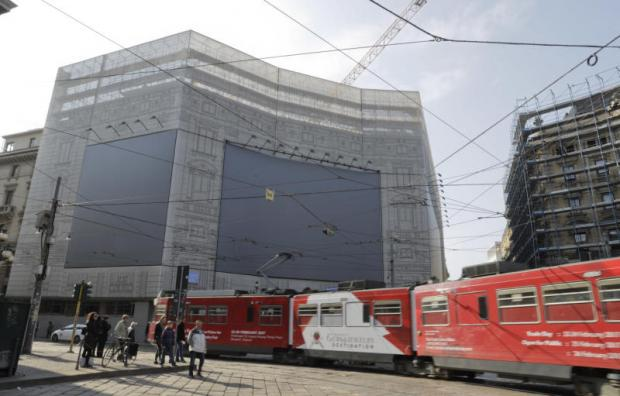 In this image taken on Monday, a view of the old headquarters of Poste italiane SpA during renovation works to host the Starbucks cafeteria in Milan. (AP photo)