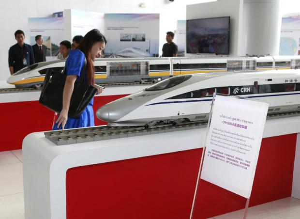 A Chinese high-speed train exhibition held at Makkasan station. The government is expected to call for construction bids of the Bangkok-Rayong high-speed train within the year. THANARAK KHUNTON