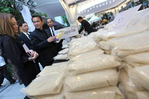 Thai rice on sale at a department store in Bangkok. Mexico offers tariff-free quota for long-grain white rice until end of the year to lower its food costs. Wichan Charoenkiatpakul