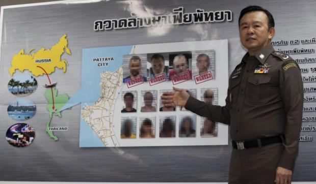 Immigration Bureau chief Pol Lt Gen Nathathorn Prousoontorn talks to reporters after a crackdown on foreign criminals, especially Russians, who committed offences in their home countries before fleeing to Pattaya.(Photo by Pawat Laopaisarntaksin)