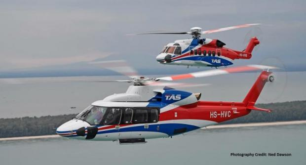 TAS's Sikorsky S-92 and S-76 helicopters serve Thailand's oil and gas industry. Sikorsky is strengthening its partnership with the Thai company.