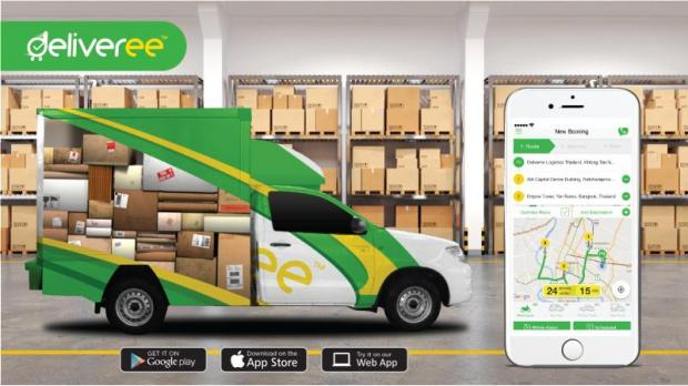 Deliveree's application and one of its trucks, which serve Bangkok and surrounding areas.