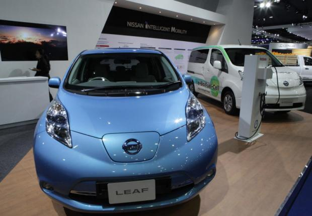 Nissan electric cars are displayed at a motor show. Thailand is several years into its eco-car manufacturing scheme. TAWATCHAI KEMGUMNERD