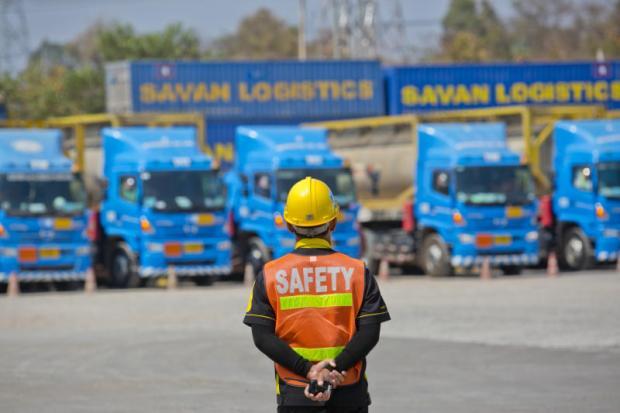 A worker stands guard at the Savannakhet dry port. China's One Belt, One Road plan runs through Laos.KRIT PROMSAKA NA SAKOLNAKORN
