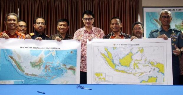 A prominent feature of the new Indonesian map is the designation North Natuna Sea to mark the northern marine region bordering the South China Sea. Photo: ISMIRA LUTFIA TISNADIBRATA