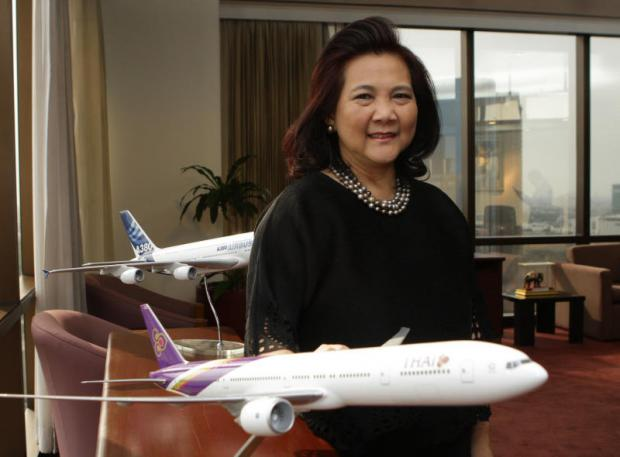 Mrs Usanee, THAI's first woman to be appointed internally to top management, is taking a hands-on approach to make the airline succeed. (Photo by Tawatchai Kemgunmerd)