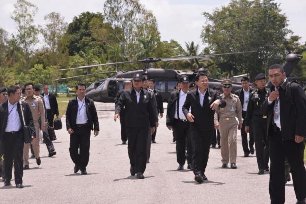 Prime Minister Prayut Chan-o-cha arrives in Sa Kaeo where he chaired a mobile cabinet meeting late last month.(Photo by Pattanapong Hirunard)