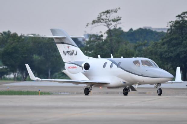 A HondaJet taxiing at Don Mueang airport. Honda Aircraft is targeting buyers in Southeast Asia, with a focus on SMEs, to sell the ultra-light private jet.