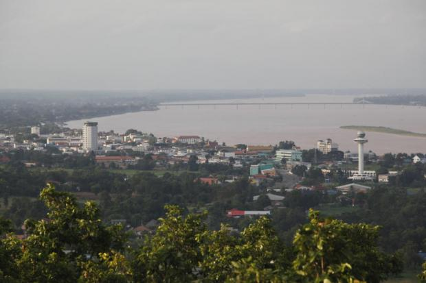 An aerial view of Mukdahan, one of the 10 provinces chosen by the government to host special economic zones. PATTARAPONG CHATPATTARASILL