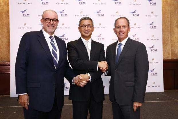 From leftMark Robert Johnson, co-CEO for flooring business at TCM Corporation; Pimol Srivikorn, chairman of TCM; and William James Palmer, co-CEO for flooring business.