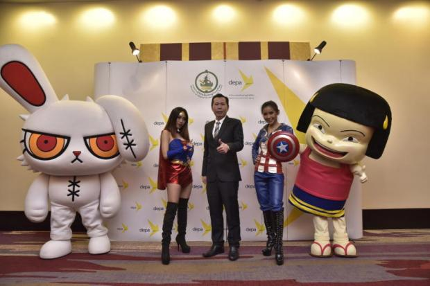 Mr Nuttapon with Wonder Woman, Captain America and other characters.