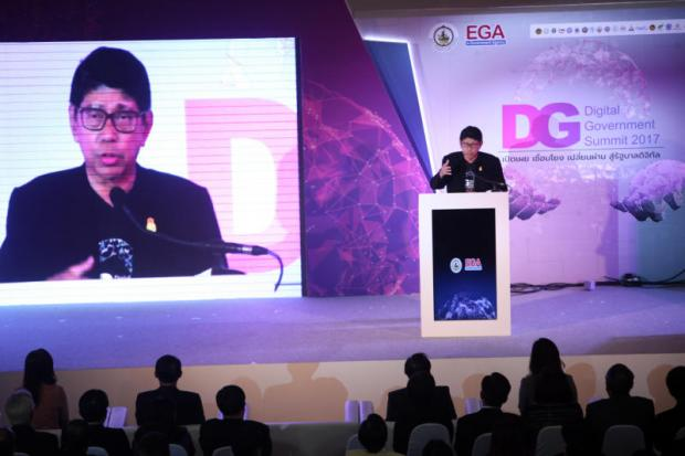 Speaking at the summit, Deputy Prime Minister Visanu Krua-ngam says a digital government will provide more transparent services. APICHART JINAKUL