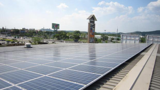 A solar rooftop on a mall in Nakhon Ratchasima. Similar systems are growing in popularity with consumers.