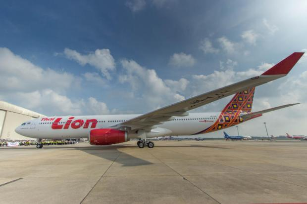 Thai Lion Air's first Airbus 330-300 sits at Don Mueang airport.