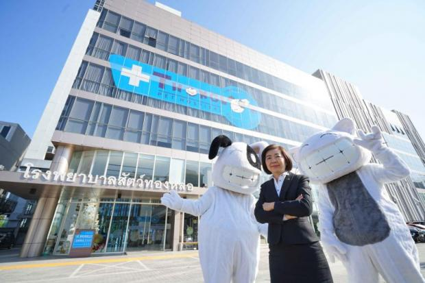 Dr Kitika Chaisupatanakul stands in front of the hospital's new headquarters in Bangkok.
