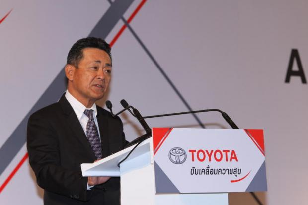 Mr Sugata at Toyota Motor Thailand's annual press conference yesterday.