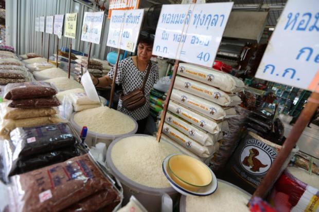 Hom mali rice from famous growing areas is available at a market in Bangkok.SEKSAN ROJJANAMETAKUN