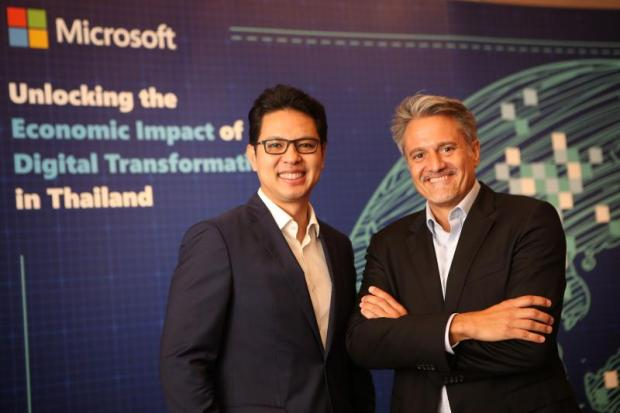 Dhanawat Suthumpun, managing director of Microsoft Thailand, with Alberto Granados, vice-president for marketing and operations of Asia Pacific Microsoft. Mr Dhanawat says higher profit margins, greater productivity and improved customer advocacy will follow digital transformation.