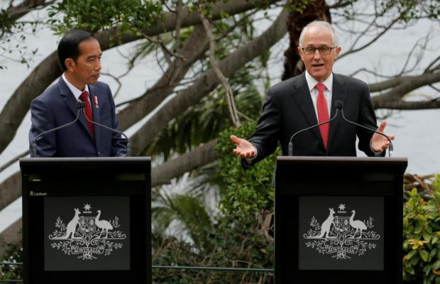 Australian Prime Minister Malcolm Turnbull and Indonesian President Joko Widodo hold a joint news conference in Sydney in February last year. Photo: Reuters