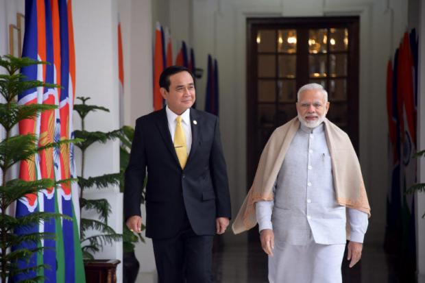 Gen Prayut Chan-o-cha joins Indian Prime Minister Narendra Modi at Hyderabad House in New Delhi during the Thai prime minister's visit to India in late January for Republic Day celebrations.