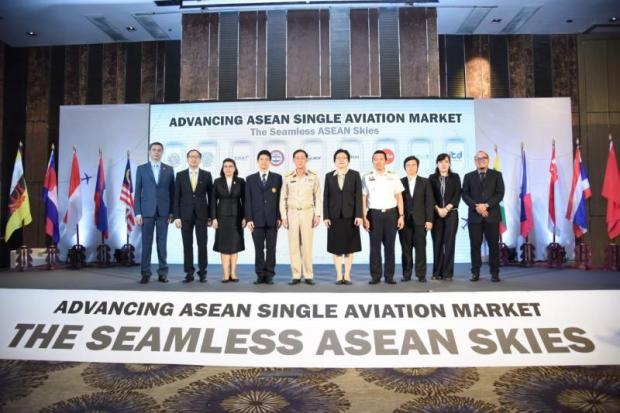 Arkhom Termpittayapaisith (fifth from left) is shown at a seminar in Bangkok on Monday on Advancing the Asean Single Aviation Market.